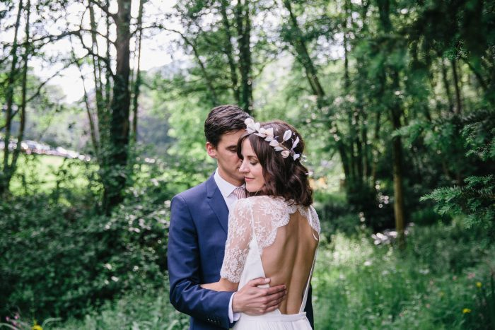 Bride and Groom in Forest in Wales