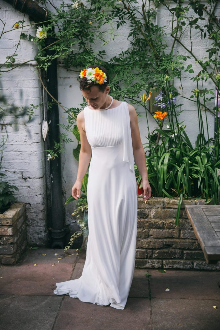 bride with bright headers