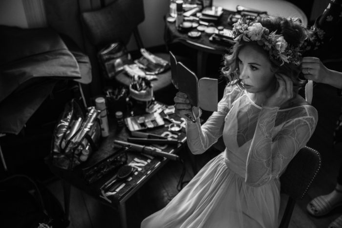 bride getting ready in london