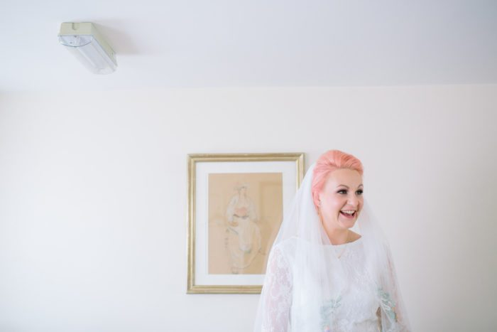 bride with pink hair portrait