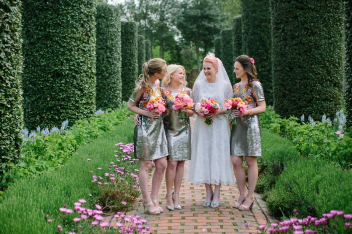 bride and bridesmaids in garden