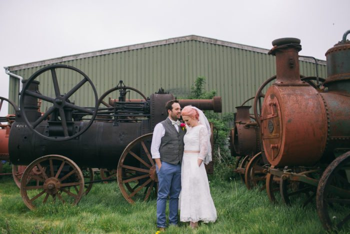 vintage tractors wedding photography