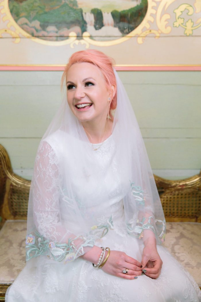 bride portrait with pink hair